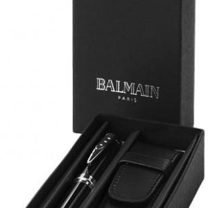 cadeaux-comité-d-entreprise-coffret-stylo-bille-balmain-cuir-noir