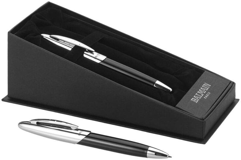 objet-pub-parure-stylo-balmain-noir-et-argent