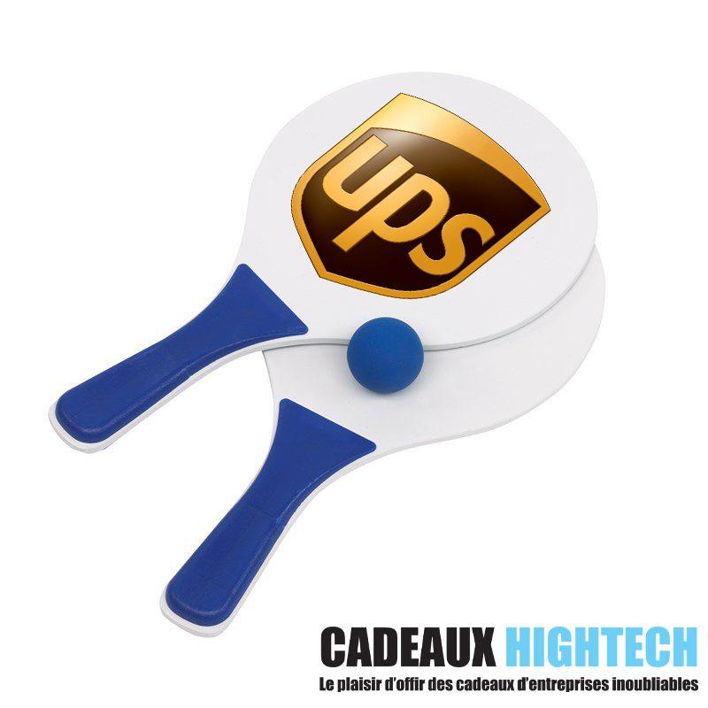 idee-cadeau-collegue-raquettes-de-plage-tendance-bleu-avec-logo
