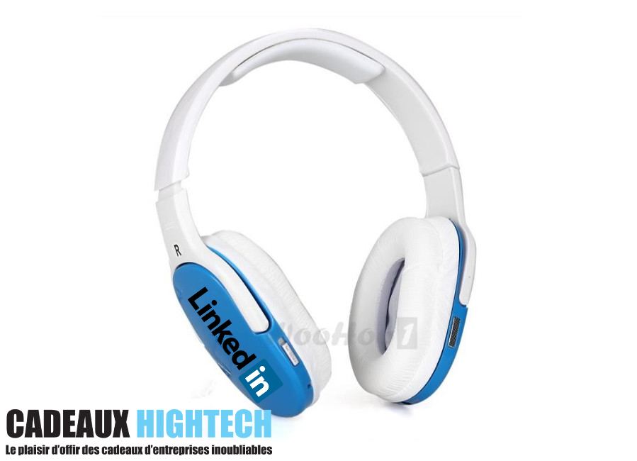 Casque bluetooth blanc et bleu