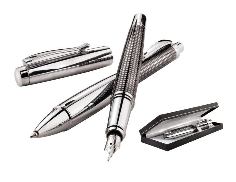 cadeau-entreprise-luxe-parure-stylo-argent-et-affaires