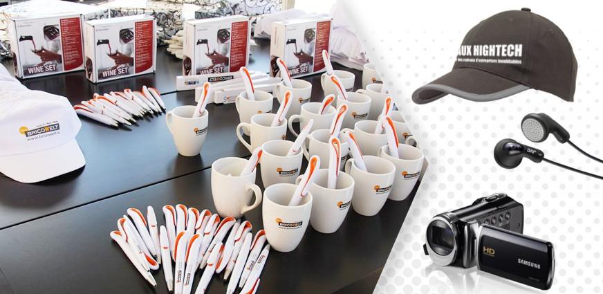 Goodies originaux pour CE et entreprise avec mugs, stylos et casquettes