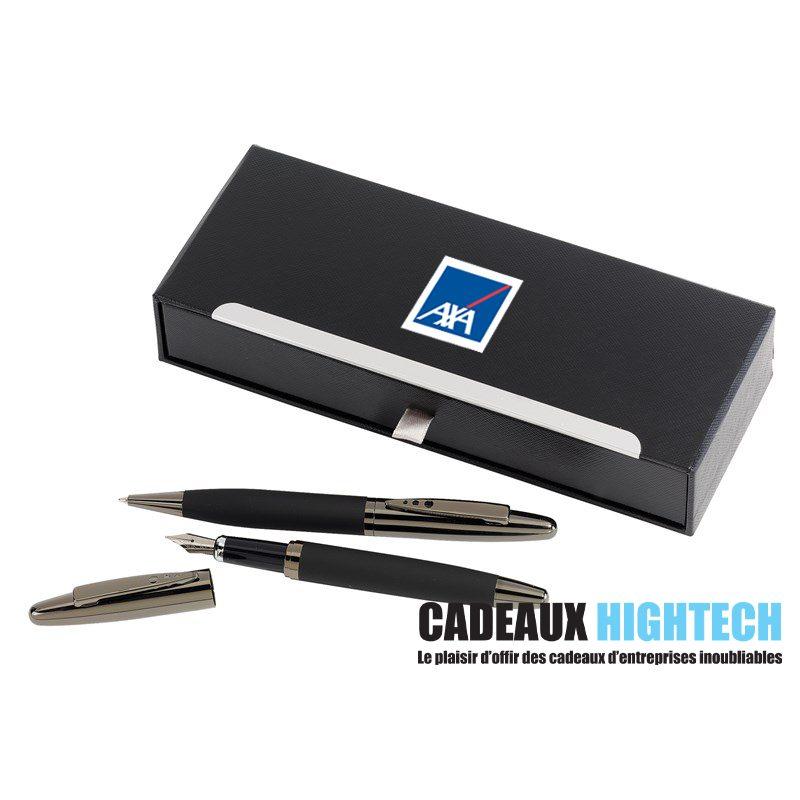 cadeau-publicitaire-original-parure-stylos-bille-et-plume-noir-avec-logo
