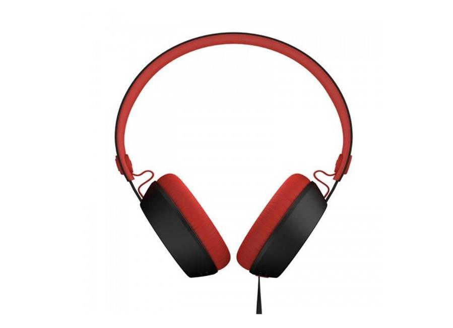 Casque audio fin noir et rouge