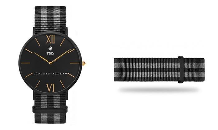 catalogue-cadeaux-comite-d-entreprise-montre-noire-bracelet-tissu
