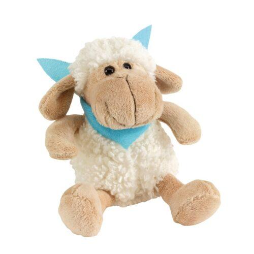 idee-cadeau-entreprise-original-peluche-mouton-beige-foulard-bleu