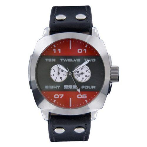 idee-cadeau-montre-homme-666--barcelona-rouge-cuir