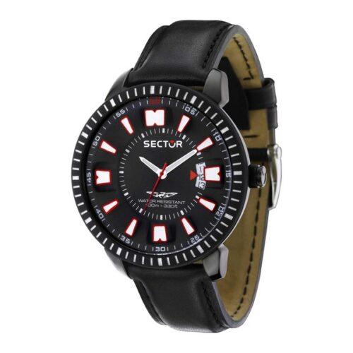 idee-cadeau-montre-homme-sector-acier-cuir-noir